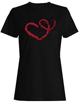 I amor usted, corazones, novedad, divertido, vintage, arte camiseta de las mujeres zz99f