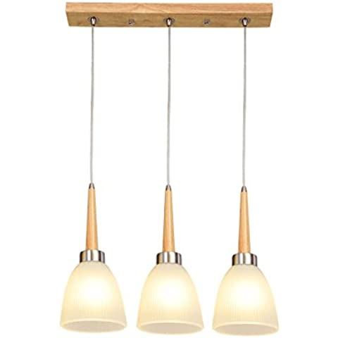 3 contemporaneo in legno luci Lampada a sospensione vetro ciondolo ombra punti luce