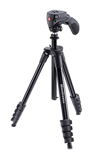Manfrotto MKCOMPACTACN-BK Treppiede con Borsa, Testa Ibrida per Fotografia e Video, 5 Sezioni in Alluminio, Nero