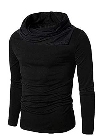 PAUSE Black Plain/Solid Turtleneck Slim Fit Long Sleeve Men's T-Shirt