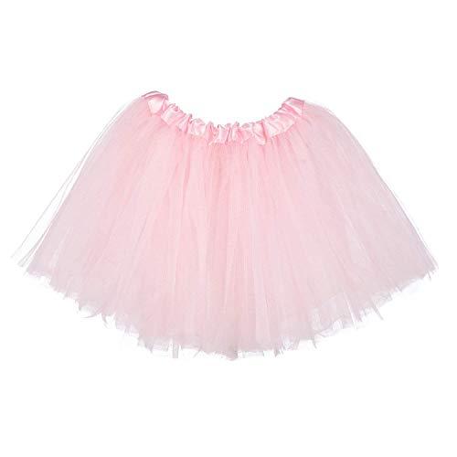 Ksnrang Mädchen Tütü Rock Minirock 3 Lagen Petticoat Tanzkleid Dehnbaren Mini Skater Tutu Rock Erwachsene Ballettrock Tüllrock für Party Halloween Kostüme Tanzen (Rosa, 2-8 Jahre) (Tutu Baby Kostüme Mädchen)