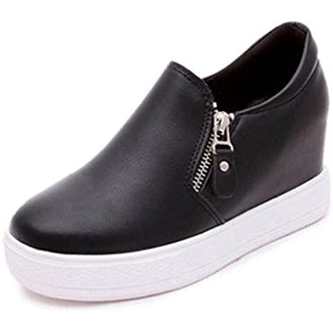 Minetom Mujer Otoño Invierno PU Cuero Botas Botines Plataforma Confortables Suela Gruesa Zapatos