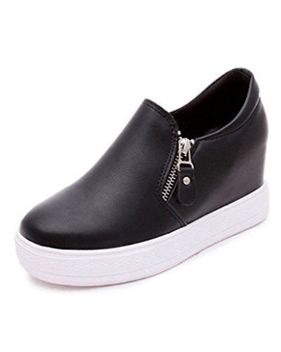 Minetom Donne Casuale PU Pelle Scarpe Da Ginnastica Piattaforma Stivali Altezza Crescente Shoes Platform Stivaletti Nero EU 39