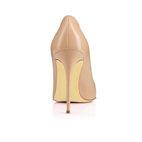 EDEFS Damen Schuhe Pumps High Heels Beige Spitze Brautschuhe mit Stilettos Absatz Beige