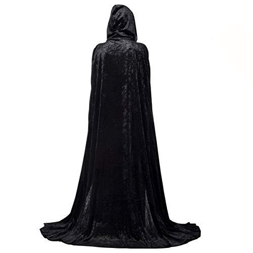 AiSi Unisex Lange Umhang Halloween Kostüm Cape SAMT Mantel Kapuzenumhang Poncho mit Kapuze (Schwarz M) (Schwarzes Cape Kapuze)