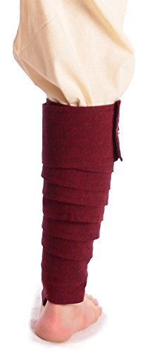 HEMAD Mittelalter Wadenwickel Set mit Fibeln aus fester Baumwolle blau grün rot beige schwarz braun Braun