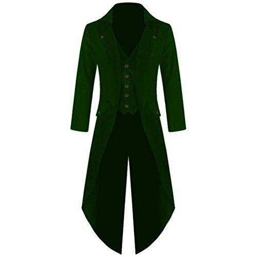 mioim Herren Frack Steampunk Gothic Jacke Vintage Viktorianischen Langer Mantel Kostüm Cosplay Kostüm Smoking Jacke Uniform Grün M