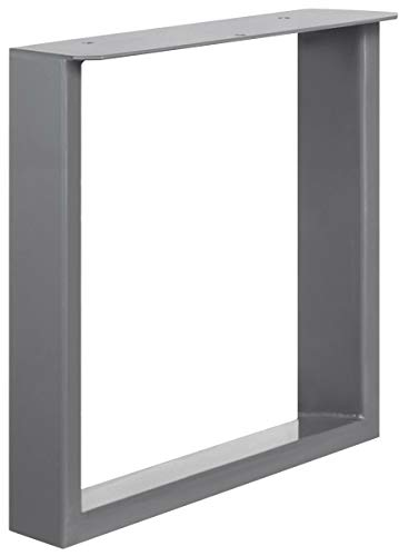 HOLZBRINK Tischkufen aus Vierkantprofilen 80x20 mm Flacheisen 3 mm, Tischgestell 40x43 cm, Perldunkelgrau, 1 Stück, HLT-02-C-BB-9023