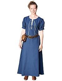 Robe médiévale manches courtes coton pour dame bleu