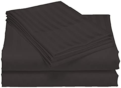 scalabedding, Taschenformat Tiefe 100% ägyptische Baumwolle 500TC 50,8cm Blatt–Königin Dunkelgrau gestreift