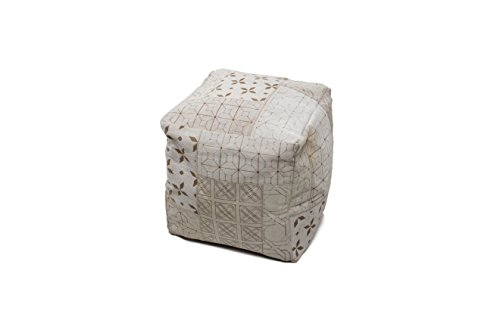 Hocker Sitz-Würfel Patschwork Design Gleam Pouf 560 Bean Bag Muster Leder 40x40 cm Weiß/Sitzsack günstig Online kaufen