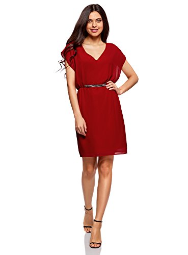 oodji Collection Damen Chiffon-Kleid mit Verzierung am Bund, Rot, DE 38 / EU 40 / M