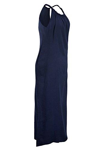 Pure Luxus natürliche Baumwolle Eine Linie lange Maxi Kleid oder unter der Knielänge mit geflochtenen Armband Farben Boot Hals Sommer Strand Kleid tragen lässig Marieneblau, lang