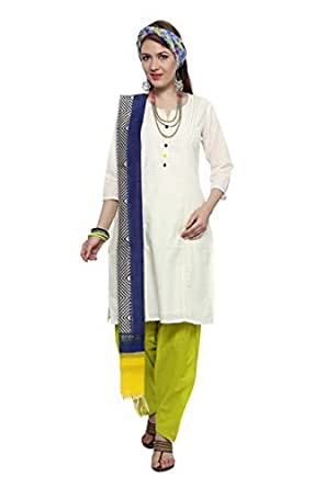 Trishaa By Pantaloons Women's Cotton Kurta Dupatta Set (205000004504246_White_Small)