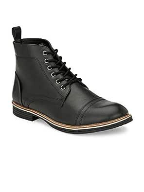 Shences Men's Black Faux Leather Casual Boots