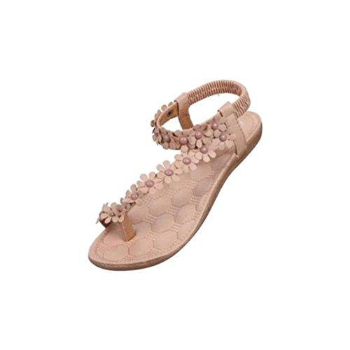 Damen Sommer-Schuhe,Xinan Damenmode Sommer-Böhmen-Sandalen Klippzehesandelholze Strand-Schuhe (40, Khaki)