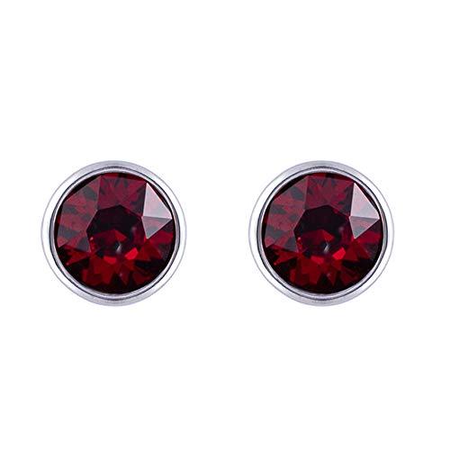 Sywin Herren Unisex Damen -  925 Sterlingsilber  Sterling-Silber 925 Brilliant Rund   Red Kristall