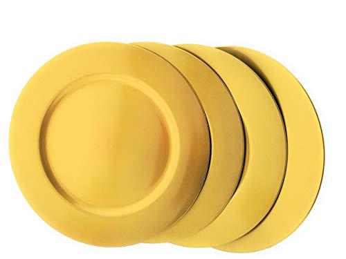 MC Trend 4er Set Gebäckteller Platzteller Dekoteller Weihnachten ROT Gold Silber 33cm Durchmesser (Gold)