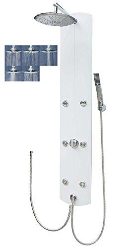 Duschpaneel Brausepaneel Duschsäule Aluminium große Regendusche mit 6 Massagedüsen Handbrause Duschkopf Dusch Set Duscharmatur Duschsystem Brauseanschluss Schlauchanschluss Wand-und-Eckmontage