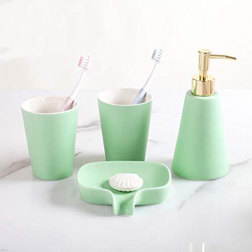 HUIJ Juego de Accesorios para baño con Soporte para Cepillo de Dientes Vaso para Enjuague Bucal jabonera y dispensador de jabón líquido 4 Piezas de Accesorios Conjunto Decoracion de Sanitarios