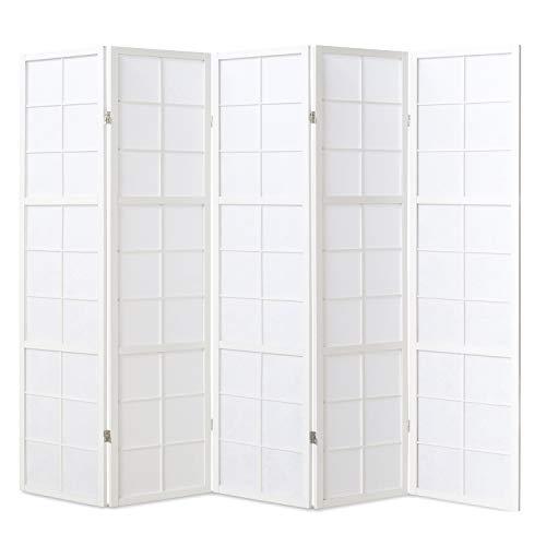 Homestyle4u 439, Paravent Raumteiler 5 teilig, Holz Weiss, Reispapier Weiß, Höhe 175 cm