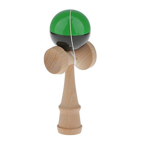 Holz Zweifarbige Kendama Ball Kugelfangspiel Kinder Geschicklichkeit Spielzeug - Grün+Schwarz, 18cm