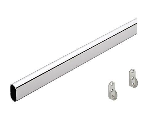 GedoTec® Kleiderstange Schrankstange 1000 mm OVAL | Schrankrohr Stahl verchromt | Möbelrohr 30 x 15 mm | inkl. 2 Stk. Schrankrohrlager | Markenqualität für Ihren Wohnbereich