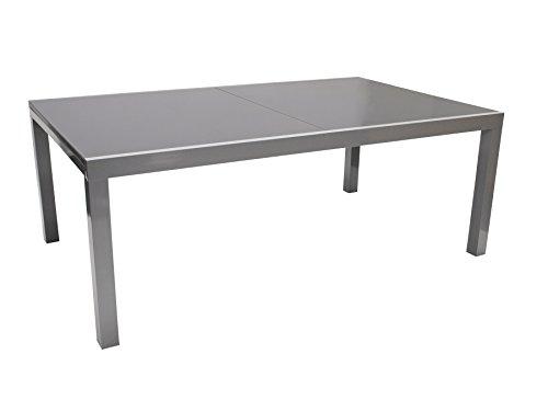 DEGAMO Ausziehtisch Marina XL, 180/240x100cm, Aluminium Silber + Glas grau