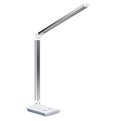 DECKEY Lámpara LED Escritorio de Mesa, Lámpara Plegable Giratoria con 60 LED, 4 Modos de Colores, Control Táctil, Ahorro de Energía, Protección Ocular (Plata) [Clase de Eficiencia Energética A+]