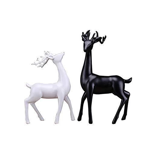 LPRWEC Schwarz-Weiß-Harz kreative Skulptur Paare handgemachte abstrakte Statue Innenministerium Dekor-Raum-Kabinett Handwerk Kunst Ornamente Retro Dekorative Skulptur Durable Skulptur Geschenk Elch (Schwarz Anime Paare Weiß Und)