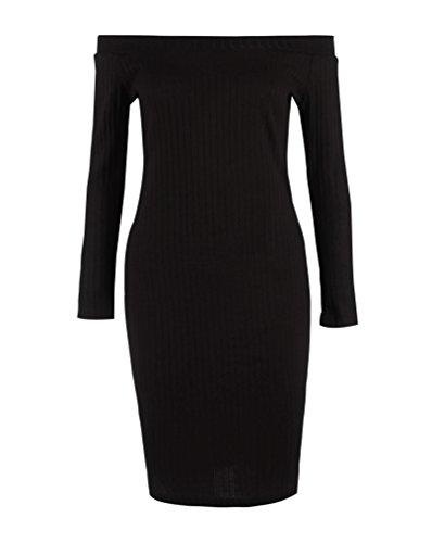 SunIfSnow - Robe spécial grossesse - Asymétrique - Uni - Manches Longues - Femme Noir