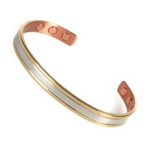 Schmerzlindernde Wirkung®–Armband Kupfer Armreif 6Magnete 3000g Platte Gold, Silber und Kupfer–Damen oder Herren