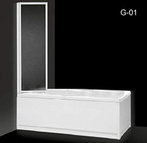 Box sopravasca paratia unica anta pieghevole acrilico e alluminio bianco 45cm CAROLA (64 cm)