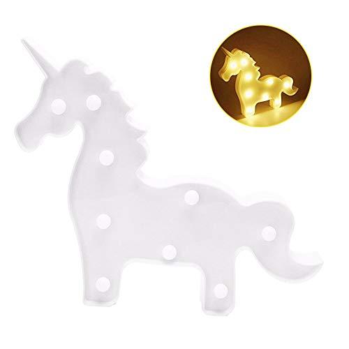 OrchidBest Einhorn-LED-Licht für Kinder, batteriebetrieben, Wanddekoration, Tischlampe, Einhorn, Motto Geburtstag, Party, Kinderzimmer, Dekoration, Geschenk für Kinder White Unicorn
