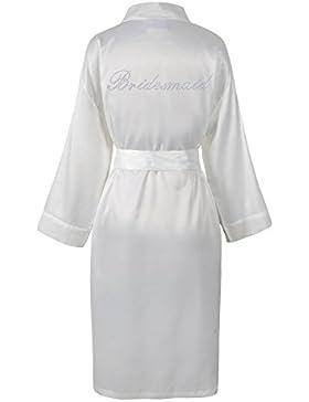 Varsany - Vestaglia per sposa/damigella d'onore, in raso e pile, con scritta di strass personalizzabile, vestibilità...