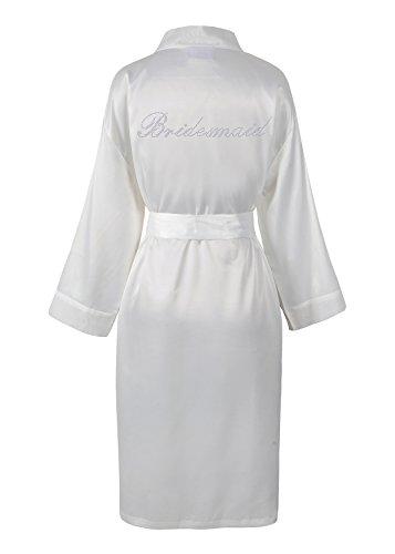Brautjungfern Satin Vlies Strass Bademantel von Varsany auf Kundenwünsche anpassbarer Morgenmantel Kimono mit Strass elfenbeinfarben - Braut-frottee-bademantel