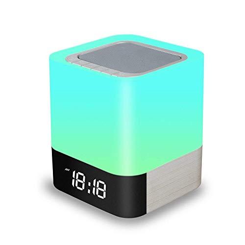 Amouhome Nachttisch Lampe, 5 in 1 LED Schreibtischlampe mit Bluetooth Lautsprecher 12 / 24H Digital Kalender Wecker 48 Farben Touch Control Night Light & 4000mAh Batterie Unterstützt TF und SD-Karte, das beste Geschenk für Kinder und Freunde