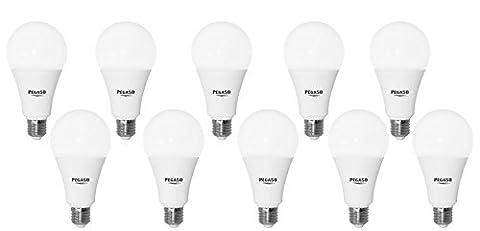 Lot de 10ampoules goutte A70LED pegaso, 14W, e27, lampe lED, ø70x 134–6000K, lumière blanche, 1200lm, remplace 84W, distance d'éclairage 230°. [classe d'efficacité énergétique a +]
