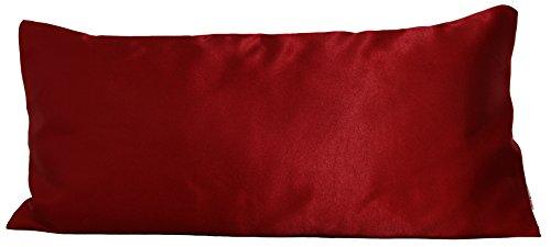 beties Glanz Satin Kissenbezug ca. 40x80 cm anschmiegsam & edel (wählen Sie Ihren Bettbezug + Spannbetttuch extra dazu) Farbe Karmin-Rot
