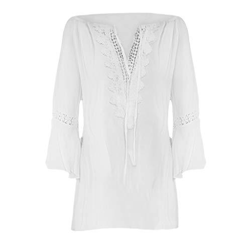 a89d1a59d8 SANFASHION Women Plus Size Loose Print V-Neck Solid Lace Blouse Pullover  Tops Shirt (