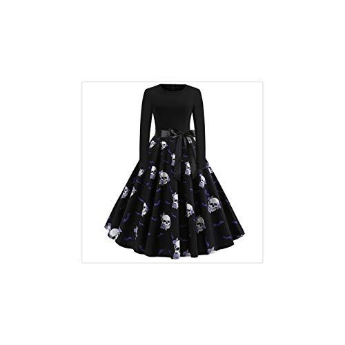 een Party Dress 2018 Elegant Skull Print Long Sleeve Ladies Dresses Belt Vintage Midi Dress Women Clothes Black XL ()