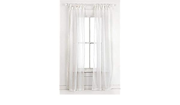 a16be47e960 Cipheres White Cotton Voile Semi-Sheer Tie Top Curtains 137 by 213 cm - Set  of 2  Amazon.co.uk  Kitchen   Home
