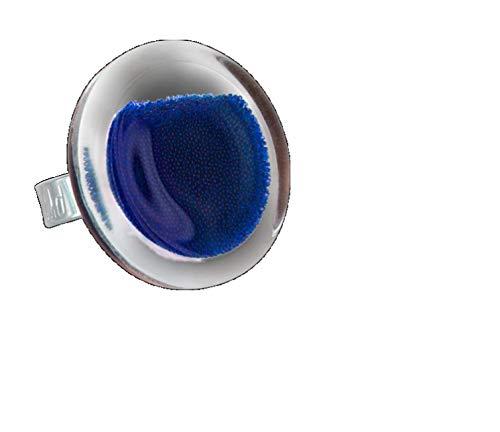 Pylones, Ring aus Glas, mittlere Kugeln dunkelblau -