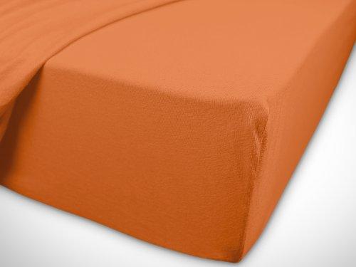 npluseins klassisches Jersey Spannbetttuch - erhältlich in 34 modernen Farben und 6 verschiedenen Größen - 100% Baumwolle, 90-100 x 200 cm, terrakotta - 7