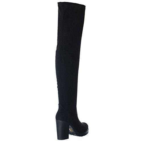 Femmes - Bottes extensibles hauteur dessus genou plateforme talon bloc massif Daim synthétique noir