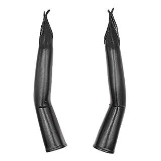 Mitlfuny Lange Latex Handschuhe Vibrierend Vibrator Flirten Magie Massage Handschuh Klitoris Stimulator Sex Spielzeug FüR Damen (Schwarz)