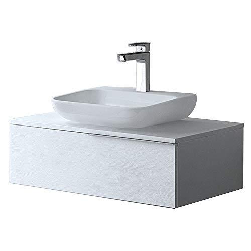 Meuble de salle de bains ensemble de 2-pièces, meuble sous vasque et vasque Ravello800N blanc structure bois