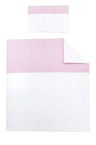 Vizaro - PIUMINO + Cuscino per CULLA - 100% Cotone - Prodotto in UE con controllo di sostanze nocive - Prodotto SICURO: il neonato lo può succhiare senza rischi - Collezione Rosa E Bianco