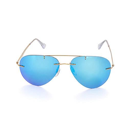 GYBTYJDD Zweistrahlige rahmenlose Sonnenbrille, polarisierte Sonnenbrille für Herren und Damen aus reinem Titan Fahrradbrille Sportbrille SunglassesUV-Schutz Sonnenbrillen