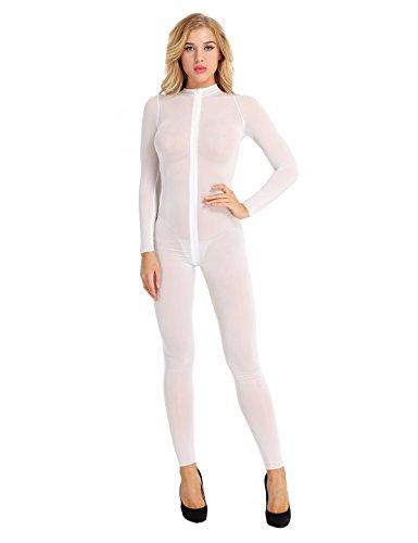 iiniim Damen Overall Catsuit Transparent Einteiler Bodysuit Ganzkörperanzug Party Clubwear Weiß M